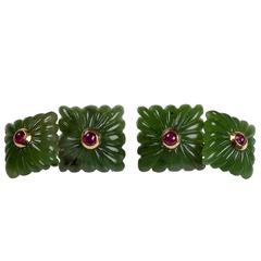 Carved Squared Jade and Rubies Gold Cufflinks