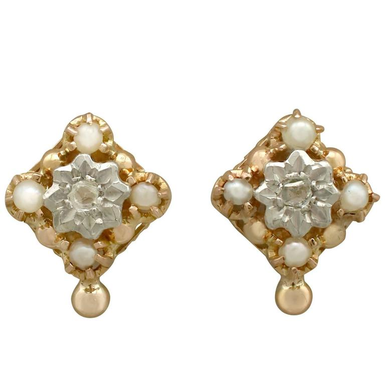 1900s Diamond and Seed Pearl Yellow Gold Stud Earrings