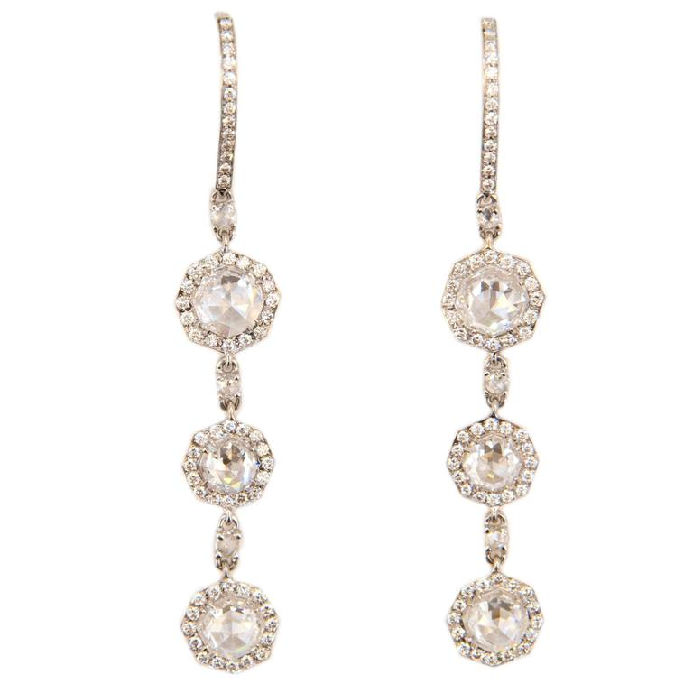 Laura Munder Diamond Drop White Gold Earrings For Sale