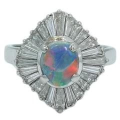 Black Opal Diamond Platinum Ring