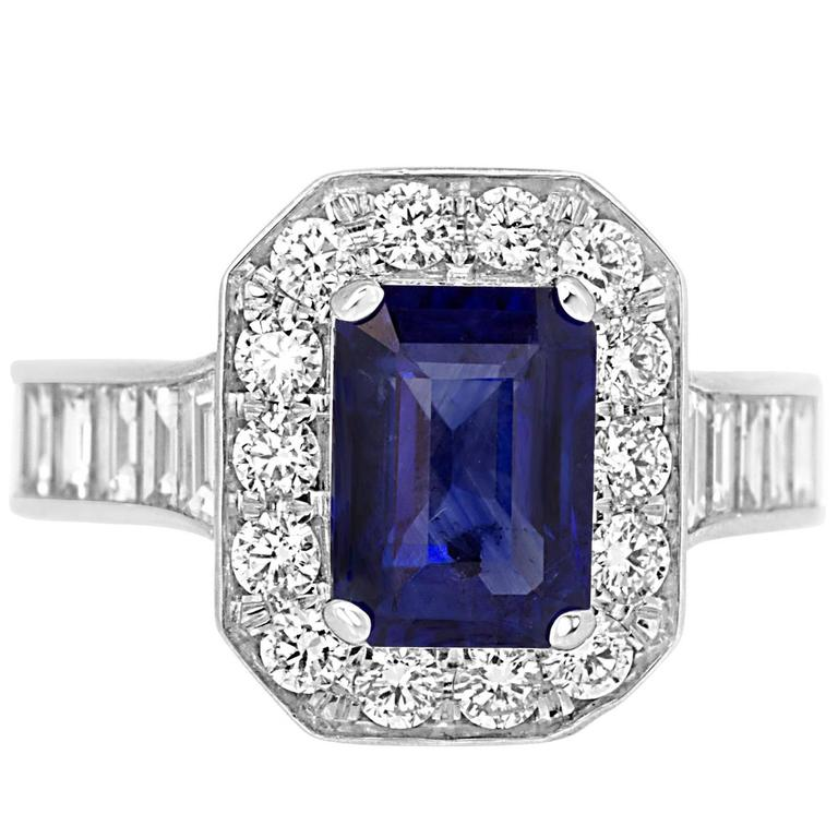 Sapphire Diamond Gold Halo Ring