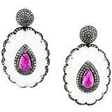 Ruby Diamond Crystal Gold Dangle Earrings