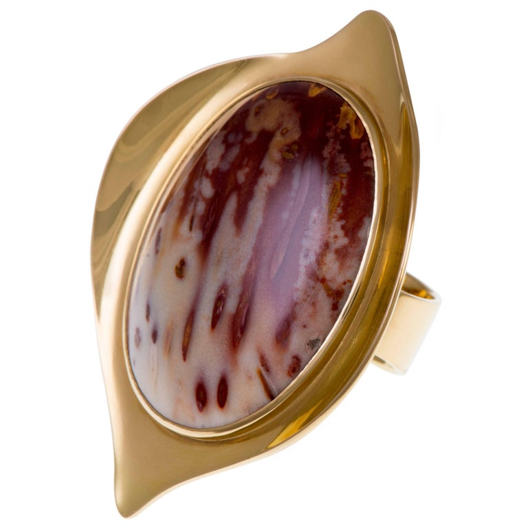 1960s Modernist Large Jasper and Gold Ring
