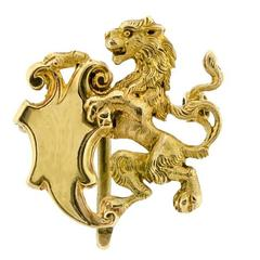 Wonderful Victorian Lion and Shield Watch Pin Brooch