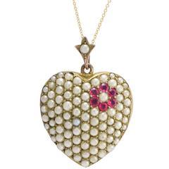 Antique Victorian Pearl Flower Pavé Heart Pendant