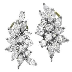 Cartier Diamond Gold Platinum Cluster Earrings