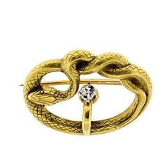 Attractive circa 1910 Diamond and Yellow Gold Snake Brooch