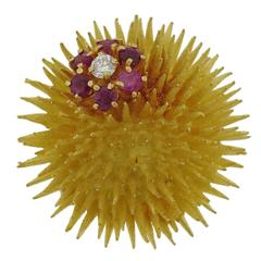 Tiffany & Co. Ruby Diamond Gold Sea Urchin Brooch Pin