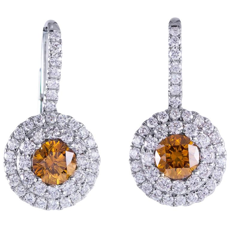 GIA Certified Fancy Color Diamond Halo White Gold Lever-Back Earrings