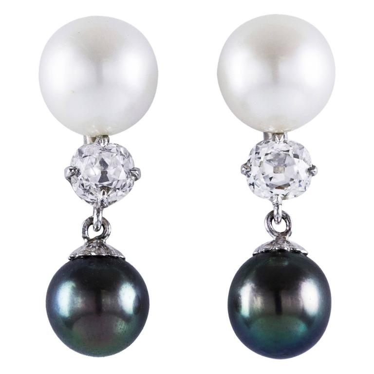 Antique Diamond Pearl White Gold Dangle Earrings