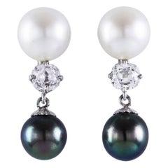 Antique Diamond Pearl White Gold Dangle Earrings