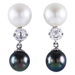 Diamond Pearl White Gold Dangle Earrings