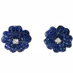Sapphire Diamond White Gold Flower Clip Earrings