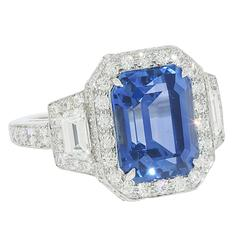 Tiffany & Co. 5.62 Carat Sapphire Diamond Platinum Ring