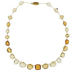 H. Stern Sunrise Citrine Sapphire Diamond Gold Necklace