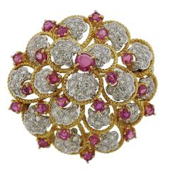 1960s Orletto Ruby Diamond Gold Brooch Pin