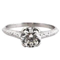 1910 1.25 Carat GIA Certified Round Brilliant Diamond Platinum Engagement Ring