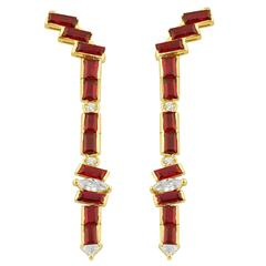 Gemfields Seraphina 3.31 Carats Mozambique Rubies Diamonds Gold Wing Earrings
