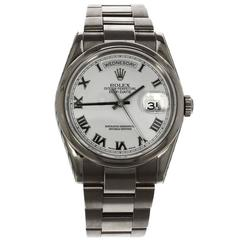 Rolex White Gold Day Date Roman Numeral Dial Automatic Wristwatch Ref 118209