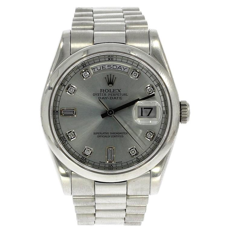 Rolex Platinum Silver Diamond Dial Day Date Automatic Wristwatch, Ref 8206 1