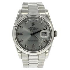 Rolex Platinum Silver Diamond Dial Day Date Automatic Wristwatch, Ref 8206