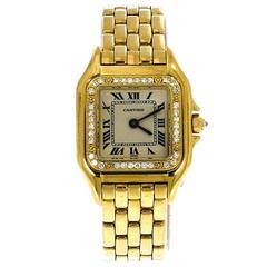 Cartier Yellow Gold Diamond White Dial Panthere Automatic Wristwatch Ref 1280