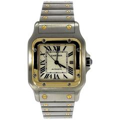 Cartier Yellow Gold Stainless Steel Santos Automatic Wristwatch Ref 2319