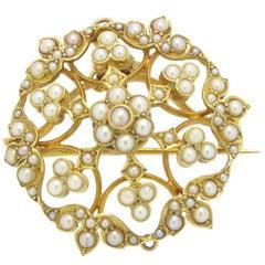 Antique Art Nouveau Edwardian Pearl Pendant Brooch, 15 Carat Gold