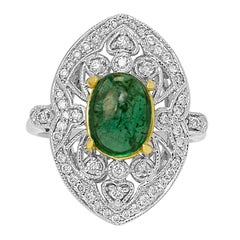 Emerald Cabochon Diamond Halo Two Color Gold ArtDeco Style Fashion Cocktail ring
