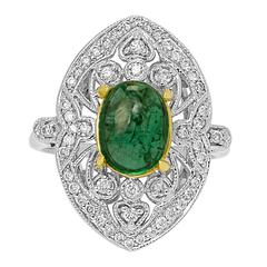 Emerald Diamond Two Color Gold Ring