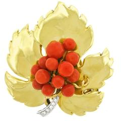 Art Deco Holly Leaf and Berries Gold Brooch