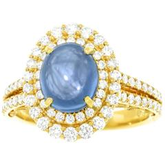 3.18 Carat No Heat Burma Sapphire and Diamond Set Gold Ring