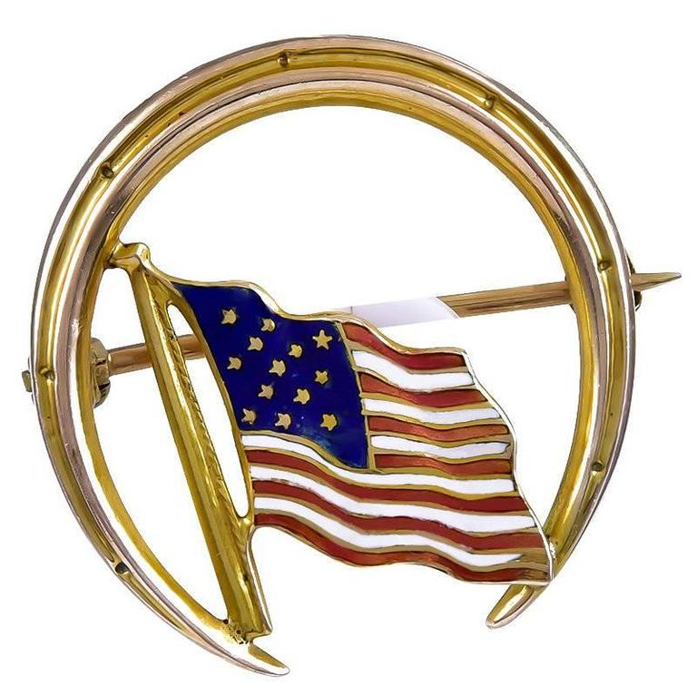 Antique Enamel Gold American Flag Pin