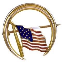 Antique Enamel Gold American Flag Pin