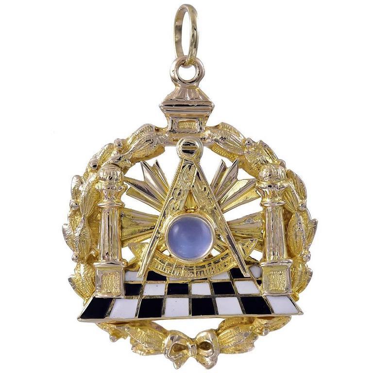Large Enamel Gold Masonic Pendant