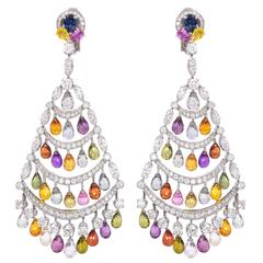 Graff Diamond and Color Sapphire Earrings