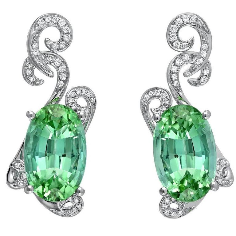 11.66 Carat Oval Mint Green Tourmaline Diamond Drop Earrings 1