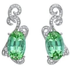 Green Tourmaline Earrings 11.66 Carats Total