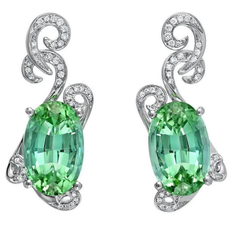 Green Tourmaline Earrings 11.66 Carats Total For Sale