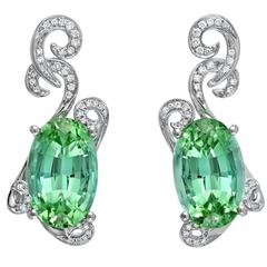 11.66 Carat Oval Mint Green Tourmaline Diamond Drop Earrings