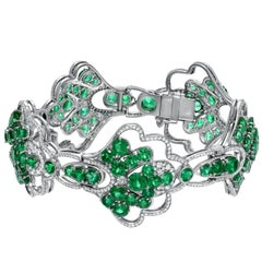 Diamond Colombian Emerald Bracelet 21.18 Carats Total