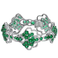 Colombian Emerald Diamond Platinum Bracelet