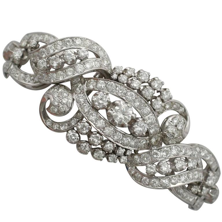 Austrian 13.95 Carats Diamonds White Gold Bracelet, 1980s