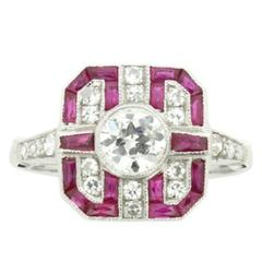 Geometric Style Diamond and Ruby Cluster Ring