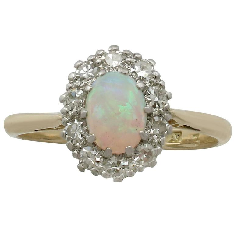 Antique Opal Diamond Yellow Gold Cluster Ring 1