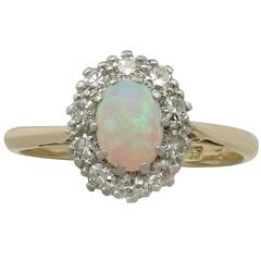 Antique Opal Diamond Yellow Gold Cluster Ring