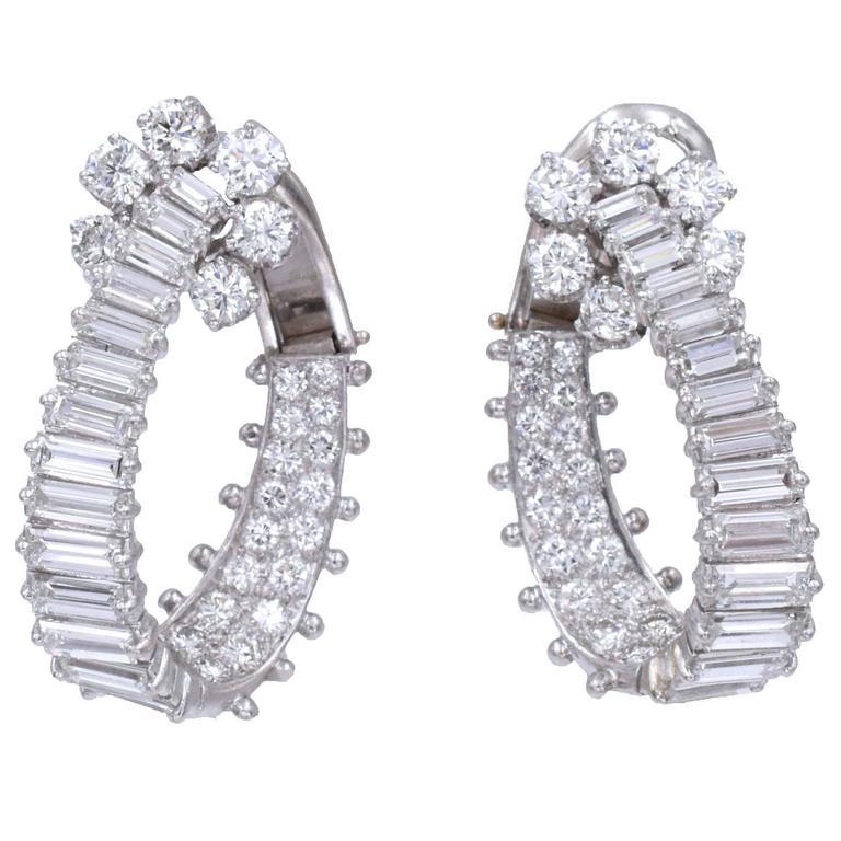 Diamond Platinum Hoop Ear-Clips For Sale
