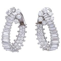 Diamond Platinum Hoop Ear-Clips