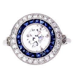 Sapphire Diamond platinum Target Cluster Ring