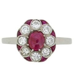 Vintage Cabochon Ruby and Diamond Cluster Ring, circa 1940s